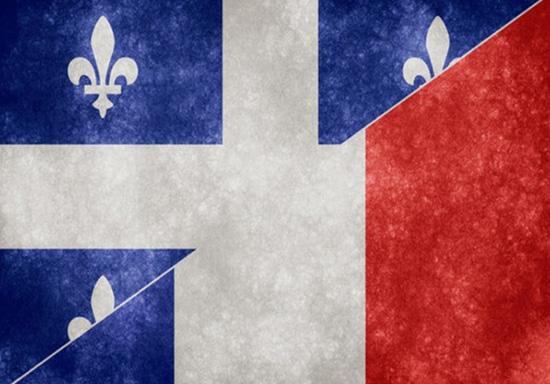 Fusion des drapeaux du Québec et de la France