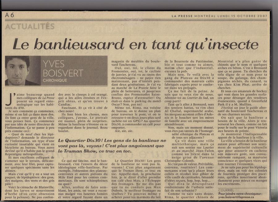 Yves Boisvert, banlieusard en tant qu'insecte