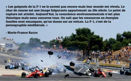 Une citation percutante d'un texte de Marie-France Bazzo intitulé « F-1: une insulte à l'intelligence »