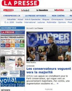 Première page typique du Journal la Presse en période électorale