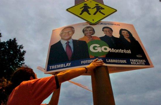 une pancarte électorale à Montréal 2005