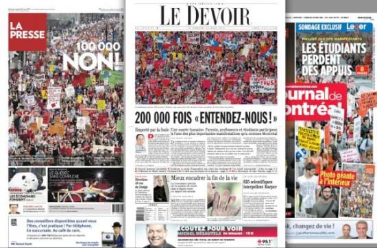 Première page des trois principaux journaux du Québec  au lendemain de la manifestation historique contre la hausse des frais de scolarité... trois points de vue COMPÈTEMENT différents. Dans un angle démocratique, que devons-nous y comprendre?