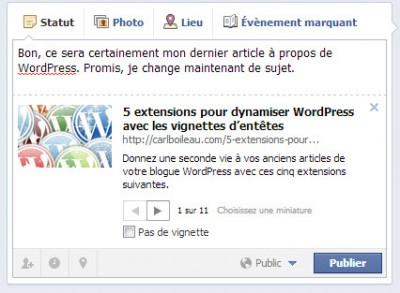En 2013, la fonction d'image à la une m'apparaît essentielle pour faire rouler ses articles dans Facebook. Car un article sans image d'accueil c'est comme un plat sans odeur, ça ne dégage rien d'appétissant.